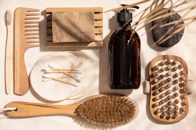 Null abfall, umweltfreundliche badezimmerzusätze auf leinengewebe