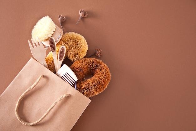 Null abfallreinigung, kunststofffreie öko-natur-kokosnussbürsten zum geschirr spülen, kamm, zahnbürste