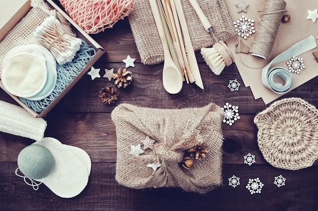 Null verschwendet weihnachtsgeschenke. umweltfreundliches geschenk.