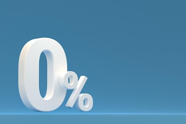 Nullprozentzeichen und verkaufsrabatt auf blauem hintergrund mit sonderangebotspreis. 3d-rendering