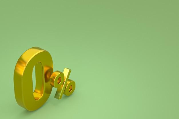 Nullprozentzeichen und verkaufsrabatt auf grünem hintergrund mit sonderangebotspreis. 3d-rendering