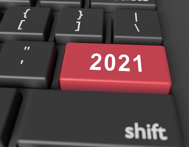 Nummer 2021 auf einer computertastatur. neujahrsbild auf einem computerschlüssel enter