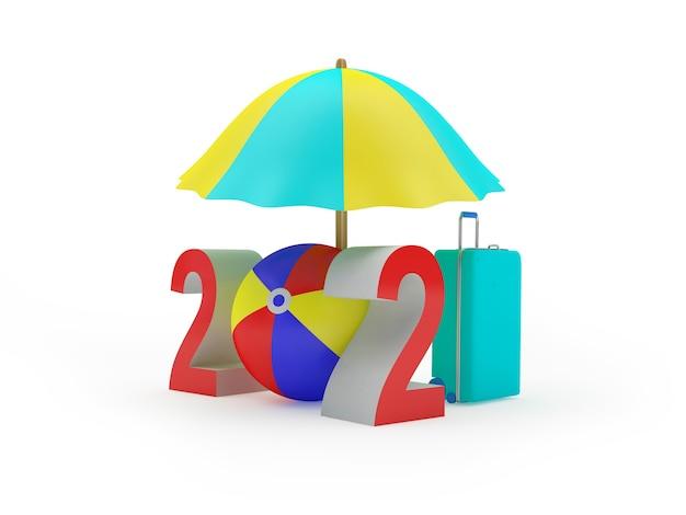 Nummer 2021 mit einem reisekoffer unter einem sonnenschirm