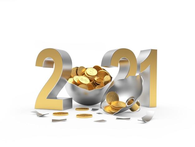 Nummer 2021 und zerbrochener weihnachtsball voller münzen
