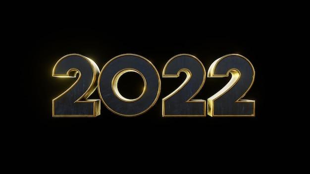 Nummer 2022 metallic gold moderner texteffekt mit schwarzem isoliertem hintergrund 3d-darstellung rendern
