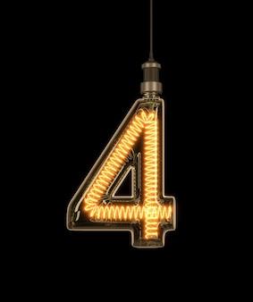Nummer 4, alphabet aus glühbirne.