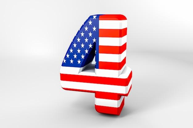 Nummer 4 mit der amerikanischen flagge. 3d-rendering - illustration