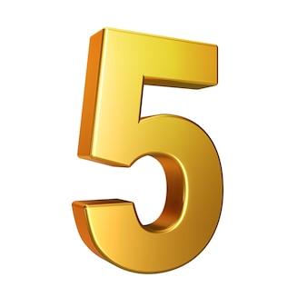 Nummer 5, alphabet. goldene 3d-nummer auf einem weißen hintergrund mit beschneidungspfad isoliert. 3d-darstellung.