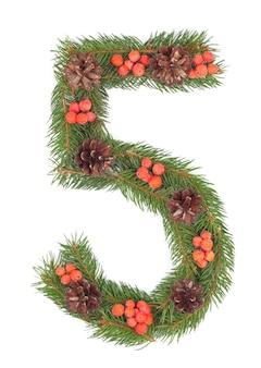 Nummer 5 aus weihnachtstanne isoliert