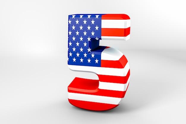 Nummer 5 mit der amerikanischen flagge. 3d-rendering - illustration
