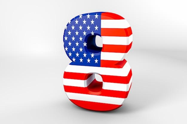 Nummer 8 mit der amerikanischen flagge. 3d-rendering - illustration