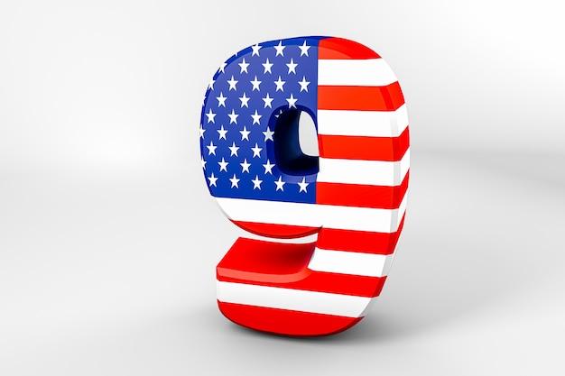 Nummer 9 mit der amerikanischen flagge. 3d-rendering - illustration
