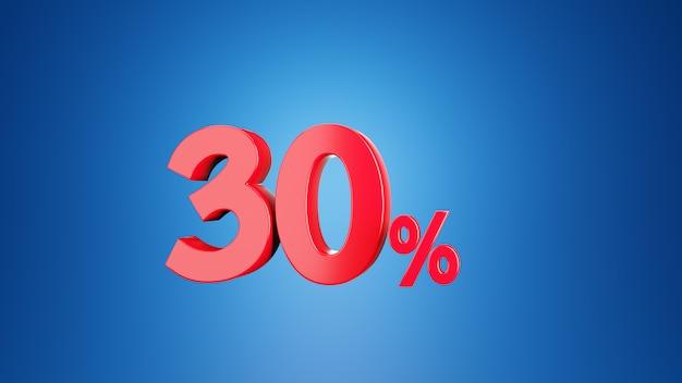 Nummer dreißig prozent für rabatt 30% oder mehrwertsteuer 30% konzept. 3d auf blauem hintergrund. 3d-rendering