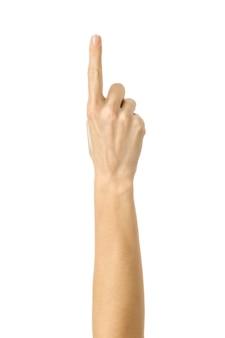 Nummer eins. frauenhand gestikuliert lokalisiert auf weiß