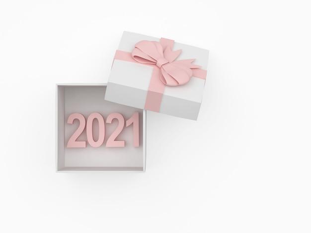 Nummer neujahr in einer geschenkbox mit offenem deckel