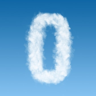 Nummer null aus weißen wolken am blauen himmel