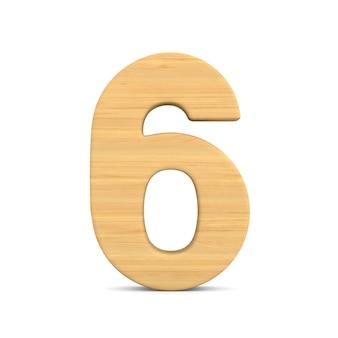 Nummer sechs auf weiß