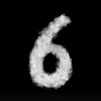 Nummer sechs aus weißen wolken oder rauch an einer schwarzen wand mit kopierraum, nicht gerendert.