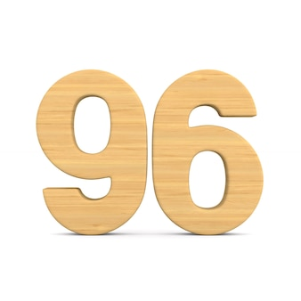 Nummer sechsundneunzig auf weißem hintergrund. isolierte 3d-illustration