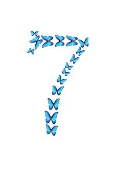 Nummer sieben der blauen tropischen schmetterlinge auf weißem hintergrund