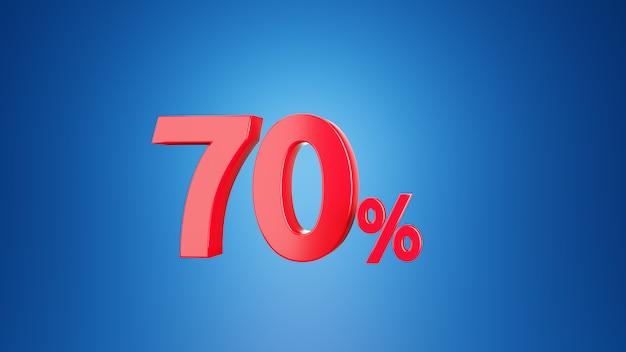 Nummer siebzig prozent für rabatt 70% oder mehrwertsteuer 70% konzept. 3d auf blauem hintergrund. 3d-rendering