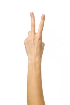 Nummer zwei. frauenhand gestikuliert lokalisiert auf weiß