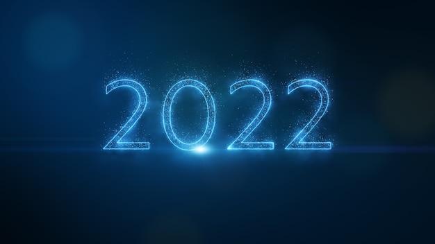 Nummer zweitausendzweiundzwanzig form durch leuchtende blaue funkelnde wunderkerzen-partikel und leuchtendes neonlicht