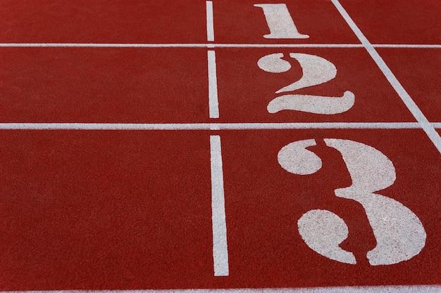 Nummerierte stadionlaufbahnen