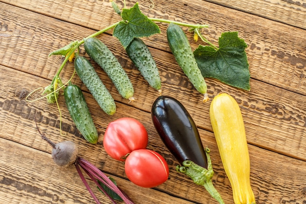 Nur tomaten, rote beete, gurken, auberginen und kürbis auf alten holzbrettern gepflückt. gerade geerntetes gemüse. ansicht von oben.