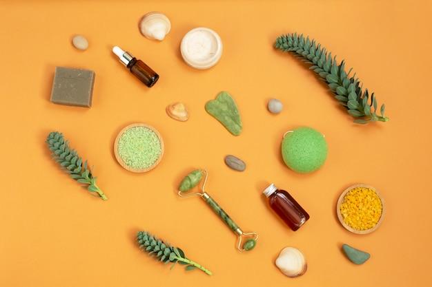 Nutural body care kosmetische produkte. beauty- und spa-konzept.