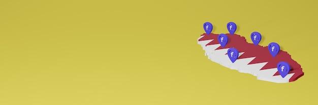 Nutzung und verbreitung von social media facebook in katar für infografiken im 3d-rendering