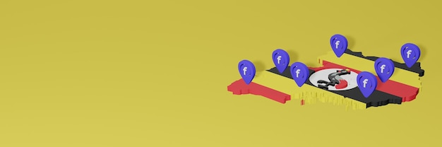 Nutzung und verbreitung von social media facebook in uganda für infografiken im 3d-rendering