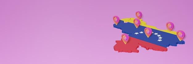 Nutzung von social media und instagram in venezuela für infografiken im 3d-rendering