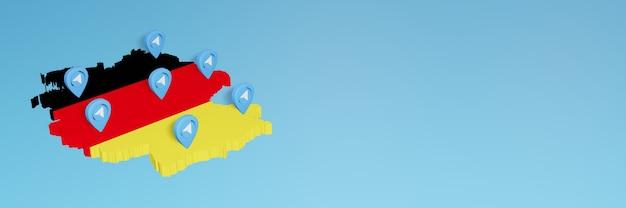 Nutzung von social media und telegram in deutschland für infografiken im 3d-rendering