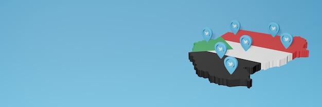 Nutzung von social media und twitter im sudan für infografiken im 3d-rendering