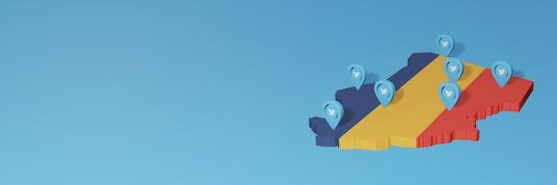 Nutzung von social media und twitter im tschad für infografiken im 3d-rendering