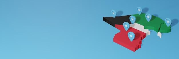 Nutzung von social media und twitter in kuwait für infografiken im 3d-rendering