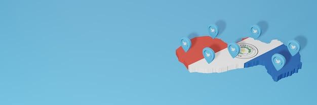 Nutzung von social media und twitter in paraguay für infografiken im 3d-rendering