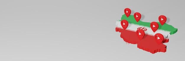Nutzung von social media und youtube im iran für infografiken im 3d-rendering