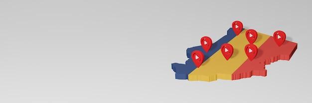 Nutzung von social media und youtube im tschad für infografiken im 3d-rendering