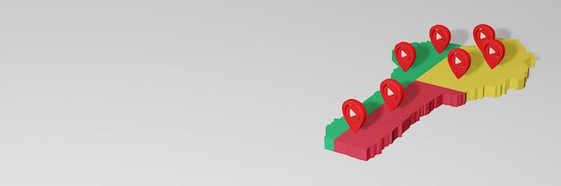 Nutzung von social media und youtube in benin für infografiken im 3d-rendering