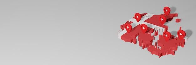Nutzung von social media und youtube in dänemark für infografiken beim 3d-rendering