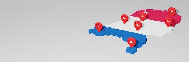 Nutzung von social media und youtube in den niederlanden für infografiken im 3d-rendering