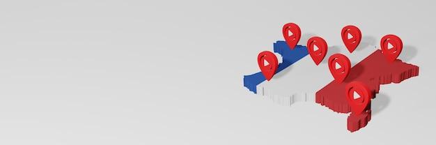 Nutzung von social media und youtube in frankreich für infografiken im 3d-rendering