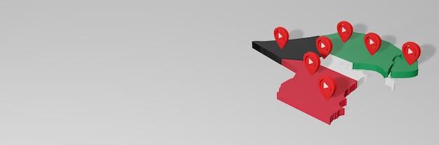 Nutzung von social media und youtube in kuwait für infografiken im 3d-rendering