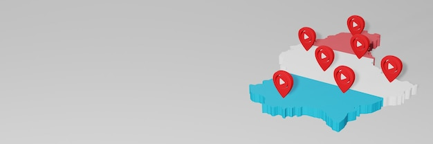 Nutzung von social media und youtube in luxemburg für infografiken im 3d-rendering Premium Fotos