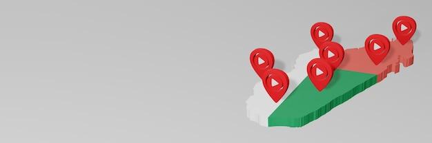 Nutzung von social media und youtube in madagaskar für infografiken im 3d-rendering