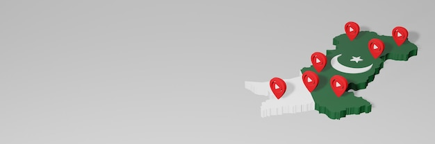 Nutzung von social media und youtube in pakistan für infografiken beim 3d-rendering