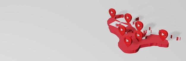 Nutzung von social media und youtube in tonga für infografiken im 3d-rendering