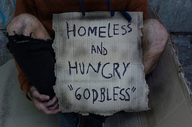 Obdachlose und hungrige gott segne zeichen